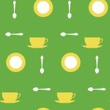 Tazze e cucchiaini gialli Immagini Stock