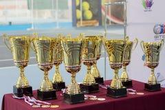 Tazze e medaglie per i vincitori del torneo di tennis Fotografia Stock