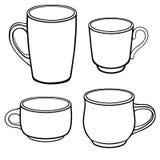 Tazze e tazze per caffè delle forme differenti Un insieme dei modelli Disegno a tratteggio Per colorare royalty illustrazione gratis