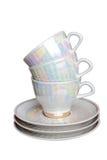 Tazze e piattini di tè Fotografia Stock