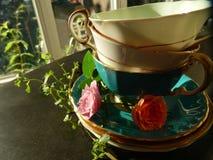 Tazze e rose di tè d'annata Fotografia Stock