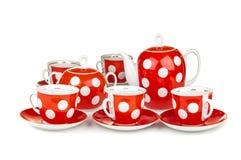 Tazze e teiera di tè rosse Fotografia Stock Libera da Diritti