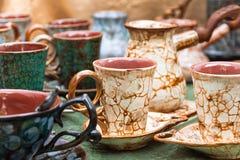 Tazze e Turco di caffè con il modello del craquelure Immagine Stock Libera da Diritti