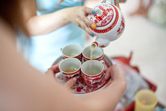 Tazze per la sessione del tè Fotografia Stock