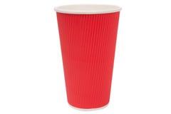 Tazze rosse del cartone per le bevande calde Immagini Stock Libere da Diritti