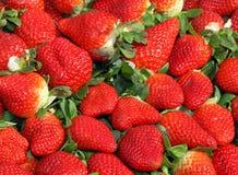Tazze rosse della fragola da vendere al mercato di verdure Fotografia Stock Libera da Diritti
