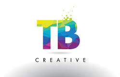 TB T B Colorful Letter Origami Triangles Design Vector. Stock Image