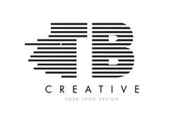 TB T B Gestreepte Brief Logo Design met Zwart-witte Strepen Royalty-vrije Stock Foto
