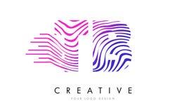 TB T B Gestreepte Lijnenbrief Logo Design met Magenta Kleuren Stock Foto