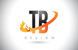 TB T B Letter Logo with Fire Flames Design and Orange Swoosh. Stock Photos