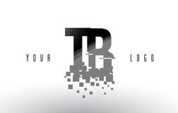 TB T B Pixel Letter Logo with Digital Shattered Black Squares Royalty Free Stock Images