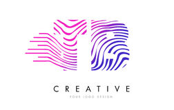 TB T B Zebra Lines Letter Logo Design with Magenta Colors Stock Photo