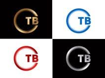 TB-Textgoldschwarze silberne moderne kreative Alphabetbuchstabelogoentwurfs-Vektorikone lizenzfreie abbildung