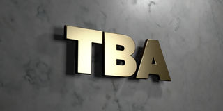 Tba - Gold sign mounted on glossy marble wall - 3D rendered royalty free stock illustration. This image can be used for an online website banner ad or a print royalty free illustration