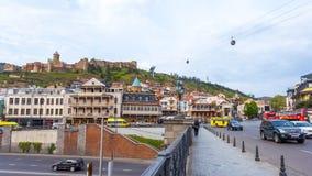 13 04 2018 Tbilisi, Γεωργία - άποψη του Tbilisi, κεφάλαιο Georgi Στοκ Εικόνες