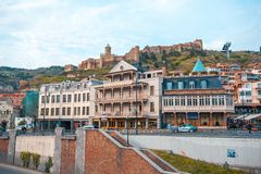 13 04 2018 Tbilisi, Γεωργία - άποψη του Tbilisi, κεφάλαιο Georgi Στοκ εικόνα με δικαίωμα ελεύθερης χρήσης