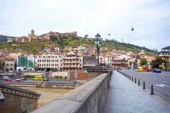 13 04 2018 Tbilisi, Γεωργία - άποψη του Tbilisi, κεφάλαιο Georgi Στοκ εικόνες με δικαίωμα ελεύθερης χρήσης