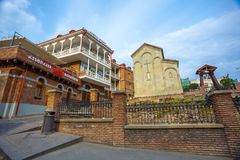 13 04 2018 Tbilisi, Γεωργία - αρχιτεκτονική της παλαιάς πόλης της φυματίωσης Στοκ Εικόνα
