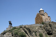 Tbilisi. Monument to the founder of Tbilisi and church on a mountain Stock Photography