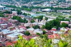 Tbilisi, arquitetura da cidade aérea Fotografia de Stock Royalty Free