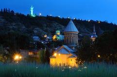 Tbilisi bij nacht Stock Afbeelding