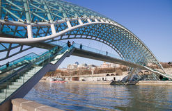 Tbilisi Bridge of Peace. New futuristic bridge in Tbilisi (Georgia Royalty Free Stock Photo