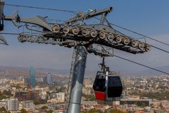 Tbilisi. Cable car. Royalty Free Stock Photo