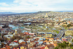 Tbilisi city center aerial view Georgia. Tbilisi city center aerial view from Narikala Fortress, Georgia Royalty Free Stock Image