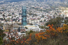 Tbilisi city center aerial view from the mountain Mtazminda, Tbilisi Georgia Royalty Free Stock Photos