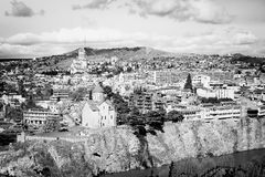 Tbilisi city center aerial view from Narikala Fortress Stock Photography