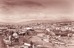 Tbilisi city center aerial view from Narikala Fortress Royalty Free Stock Photo