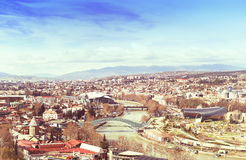 Tbilisi city center aerial view from Narikala Fortress Royalty Free Stock Images