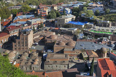 Tbilisi city center aerial view from Narikala Fortress, Georgia Royalty Free Stock Images