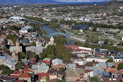 Tbilisi city center aerial view from Narikala Fortress, Georgia Royalty Free Stock Photos