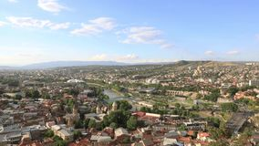 Tbilisi city center aerial view from Narikala Fortress, Georgia stock video
