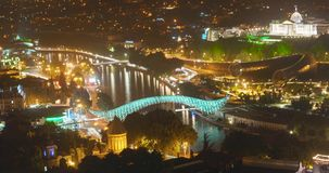 Tbilisi cityscape night traffic stock footage