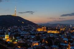Tbilisi dans la nuit Image libre de droits