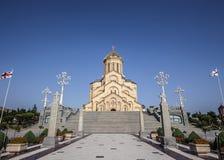 tbilisi Die Heilige Dreifaltigkeit Tempel Tsmind Sameba lizenzfreies stockfoto