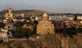 Tbilisi downtown churches Royalty Free Stock Images