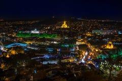 Tbilisi e cattedrale della trinità santa alla notte Immagini Stock Libere da Diritti