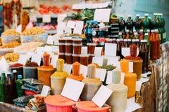 Tbilisi, Geórgia Ajika, condimento, especiarias perfumadas, aromáticas ele Fotografia de Stock Royalty Free