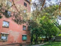 TBILISI, GEÓRGIA - - 17 DE MAIO DE 2018: A jarda de uma casa, árvores da flor, grama verde, carros na jarda Primavera na cidade Imagem de Stock