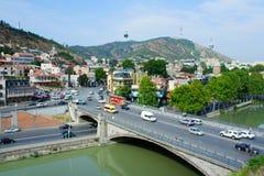 Tbilisi, Georgië - September 11, 2014: Mening van de oude stad Tsi Stock Afbeeldingen