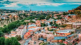 Tbilisi, Georgia Abanotubani ist der alte historische Bad-Bezirk Lizenzfreie Stockfotografie