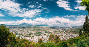 Tbilisi Georgia. Aerial Panoramic View Of City With Famous Landmarks Royalty Free Stock Images