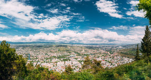 Tbilisi Georgia. Aerial Panoramic View Of City With Famous Landmarks Stock Image