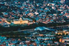 Tbilisi Georgia. Aerial View Of Music Hall, Rike Park, Avlabari Residence In Evening Illumination. Tbilisi, Georgia. Aerial View Of Concert Music Hall, Rike Park stock photography