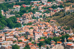 Tbilisi Georgia. Aerial View Of Old Town Buildings, Narikala Ancient Fortress Stock Image