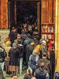 People at Service Inside Jvari Monastery near Tbilisi stock images