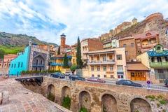 13 04 2018 Tbilisi, Georgia - architettura di Città Vecchia della TB Fotografia Stock Libera da Diritti